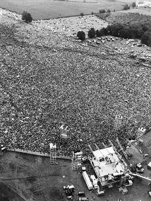 Arial view of crowd at woodstock 1969