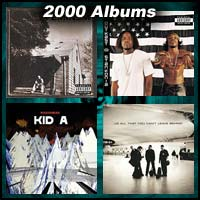 2000 record album covers for The Marshall Mathers LP, Stankonia, Kid A, and All That You Can't Leave Behind