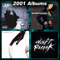 2001 record album covers for The Blueprint, Is This It, Songs In A Minor, and Discovery
