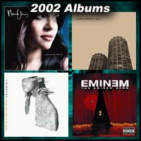 2002 record album covers for Come Away With Me, The Eminem Show, Yankee Hotel Foxtrot, and A Rush Of Blood To The Head