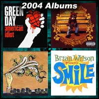 2004 record album covers for American Idiot, The College Dropout, Funeral, and SMiLE