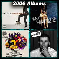 2006 record album covers for FutureSex/LoveSounds, Back to Black, St. Elsewhere, and Whatever People Say I Am, That's What I'm Not
