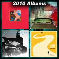 2010 record album covers for My Beautiful Dark Twisted Fantasy, The Suburbs, This is Happening, and Doo Wops & Hooligans