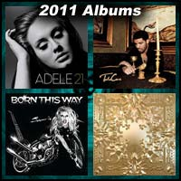 2011 record album covers for 21 by Adele, Take Care, Born This Way, and Watch the Throne