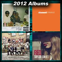 2012 record album covers for good kid, M.A.A.D. city, Channel Orange, Babel, and Red