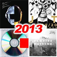2013 record album covers for Random Access Memories, The 20/20 Experience, Yeezus, and Modern Vampires of the City