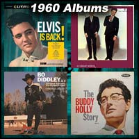 1960 record album covers for Elvis Is Back, Bo Diddley Is A Gunslinger, It's Everly Time, and The Buddy Holly Story, Volume 2