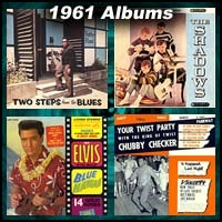 1961 record album covers for Two Steps From The Blues, The Shadows, Blue Hawaii, and Your Twist Party With The King Of The Twist