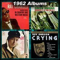 1962 record album covers for Modern Sounds In Country And Western Music, Green Onions, Bob Dylan, and Crying