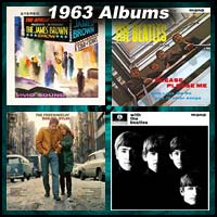 1963 record album covers for Live At The Apollo, Please Please Me, The Freewheelin' Bob Dylan, and With The Beatles