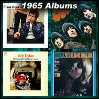 1965 record album covers for Highway 61 Revisited, Rubber Soul, Bringing It All Back Home, and Otis Blue
