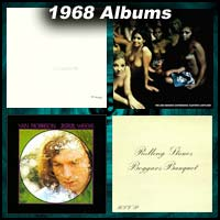 1968 record album covers for The Beatles, Electric Ladyland, Astral Weeks, and Beggars Banquet