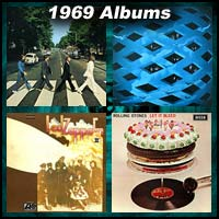 1969 record album covers for Abbey Road, Tommy, Led Zeppelin II, and Let It Bleed