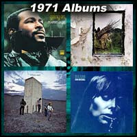 1971 record album covers for What's Going On, Led Zeppelin IV, Who's Next, and Blue