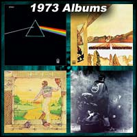 1973 record album covers for Dark Side Of The Moon, Innervisions, Goodbye Yellow Brick Road, and Quadrophenia
