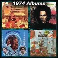 1974 record album covers for Fulfillingness' First Finale, Natty Dread, Rags To Rufus, and Can't Get Enough