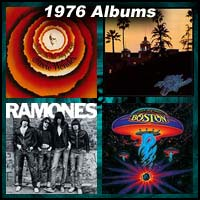 1976 record album covers for Songs In The Key Of Life, Hotel California, The Ramones, and Boston