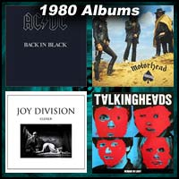 1980 record album covers for Back In Black, Remain In Light, Closer, and Ace Of Spades