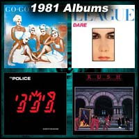 1981 record album covers for Beauty And The Beat, Dare!, Ghost In The Machine, and Moving Pictures