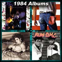 1984 record album covers for Purple Rain, Born in the USA, Like A Virgin, and Run-D.M.C.