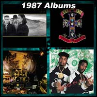 1987 record album covers for The Joshua Tree, Appetite For Destruction, Sign O' The Times, and Paid In Full