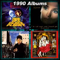 1990 record album covers for Fear of a Black Planet, I Do Not Want What I Haven't Got, AmeriKKKa's Most Wanted, and Ritual De Lo Habitual