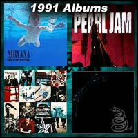 1991 record album covers for Nevermind, Ten, Achtung Baby, and Metallica Black Album