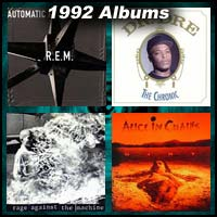 1992 record album covers for Automatic for the People, The Chronic, Rage Against the Machine, and Dirt
