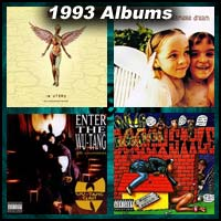 1993 record album covers for In Utero, Siamese Dream, Enter the Wu-tang and Doggystyle