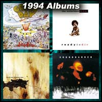 1994 record album covers for Dookie, Ready to Die, Downward Spiral, and Superunknown