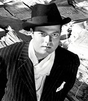 Actor Orson Welles in the movie Citizen Kane