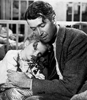 Actor James Stewart in the movie It's a Wonderful Life