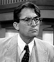 Actor Gregory Peck in the movie To Kill a Mockingbird