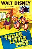 Poster for the 1933 animated movie Three Little Pigs