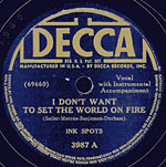 I Don't Want To Set The World On Fire - decca record lable