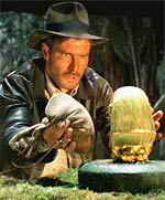 Scene from the action movie Raiders of the Lost Ark