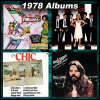 1978 record album covers for One Nation Under A Groove, Parallel Lines, C'est Chic, and Stranger In Town