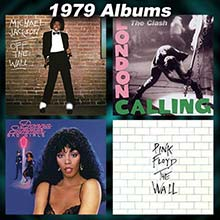 1979 record album covers for Off The Wall, London Calling, Bad Girls, and The Wall