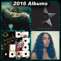 2016 record album covers for Lemonade, Blackstar, We Got It From Here...Thank You 4 Your Service, and A Seat at the Table