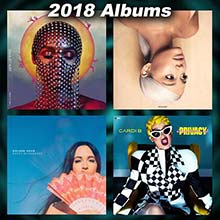2018 record album covers for Dirty Computer, Sweetener, Golden Hour, and Invasion of Privacy