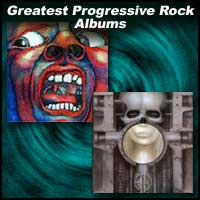 album covers In The Court Of The Crimson King and Brain Salad Surgery