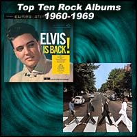 Album covers for Elvis Is Back and Abbey Road