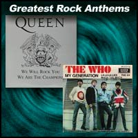 "Record single covers for the rock anthems ""We Will Rock You"" and ""My Generation"""