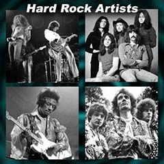 Hard Rock Artists Led Zeppelin, Jimi Hendrix, The Who, AC/DC