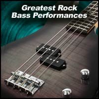 Greatest Rock Bass Performances title image showing electric bass guitar