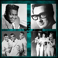 rock artists image showing Fats Domino Buddy Holly and two more