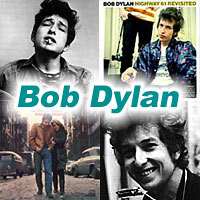 Two pictures and two album covers of Bob Dylan