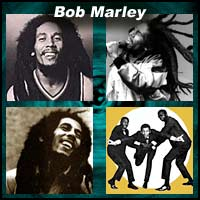 Four pictures of Bob Marley