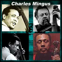 Four pictures of jazz bassists Charles Mingus