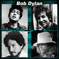Four pictures of Bob Dylan